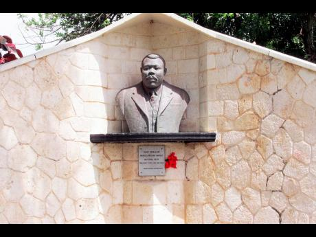 Marcus Mosiah Garvey's bust at National Heroes Park.