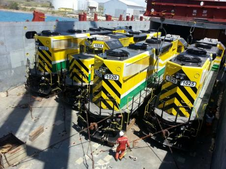 Trains preparing to be unloaded from a vessel in Port Esquivel.