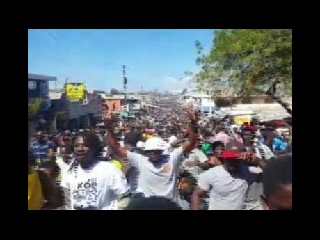 Protesters calling for President Moise to step down last weekend.