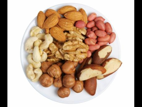 Peanuts, cashews, almonds, walnuts, Brazil nuts and hazelnuts.