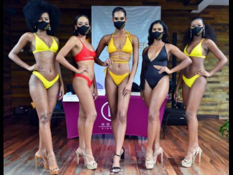 Regional queens (from left): Miss Universe Jamaica Central Shanique Thompson, Miss Universe Jamaica East Alexia Royal Eatmon, Miss Universe Jamaica Northeast Samantha Williams, Miss Universe Jamaica Northwest Lineisha Davis, and Miss Universe Jamaica West