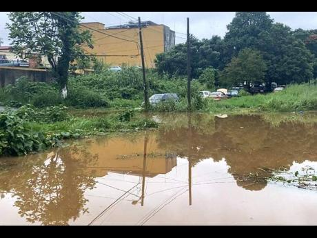 The outskirts of Levy Lane in Mandeville were transformed into swamps by flood rains at the weekend.