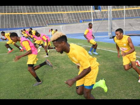 Several Waterhouse players go thorugh their paces during a training session at the National Stadium on August 21, 2019.