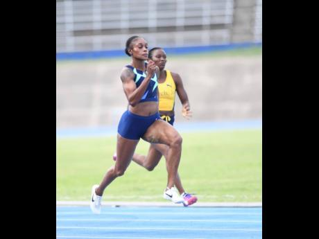 Elaine Thompson Herah competing in the women's 100m at the Velocity Fest meet at the National Stadium earlier this year.