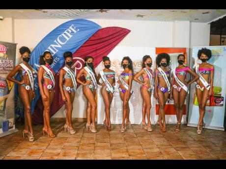The top 10 finalists in the 2020 Miss Universe Jamaica Beauty, Fashion and Wellness Pageant (from left): Kimberly Dawkins, Miss R Hotel; Monique Thomas, Miss Curves; Ashanti Findley, Miss Caribbean Seafoods; Abigail Pinnock, Miss Bluedot Comuna; Briana Ru