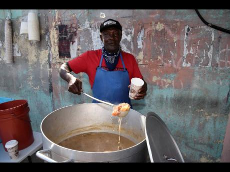 """""""Nobody cyaan come pon Arnold Road and nuh get a Real Life soup,"""" were the words of Thomas Swearing, also known as 'Real Life'. Swearing has been selling soup for almost 50 years."""