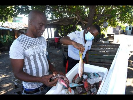 Delroy Peddler assists Constable Bennett in puchasing fish at the Greenwich Town Fishing Village in Kingston yesterday. Peddler says that since the COVID-19 outbreak, there has been a dramatic decline in buyers at the fishing village.