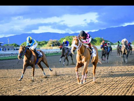 SPARKLE DIAMOND (right), ridden by jockey Anthony Thomas, wins the eighth race over CHACE THE GREAT (left) at Caymanas Park in St Catherine on Sunday, December 13.
