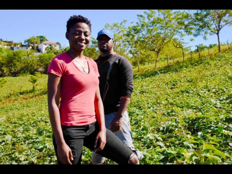 Citerina Atkins was introduced to farming by her cousin, Roike Campbell (right), who works alongside her on the Gerty's Agro-Produce Farm, which was named after their late grandmother.