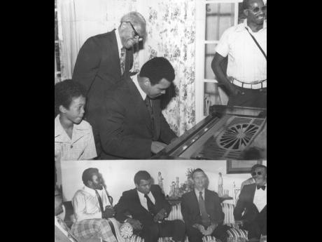 JIVING AT TOP AND PENSIVE BELOW: Muhammad Ali tickles the ivories (above) at King's House on December 30, as his host, Governor General Sir Florizel Glasspole (behind him), smilingly approves the choice and the beat of the music, while Roger, son of the