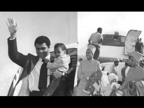 1974: World heavy weight boxing champion Muhammad Ali (left) alights with his son from the Air Jamaica aircraft which took them from Chicago to the Norman Manley International Airport in Kingston on December 28 for a four-day stay in Jamaica. At left (imm