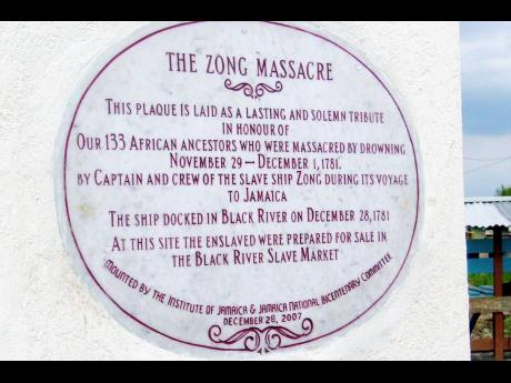 The plaque in the memory of the Zong Massacre in Black River,  St Elizabeth.