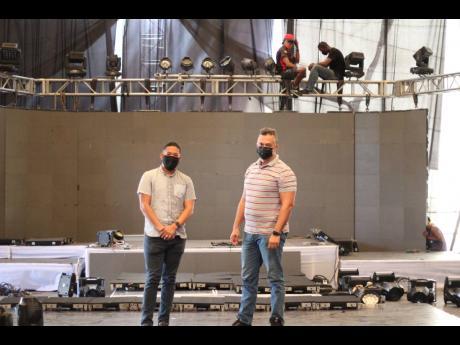 Richard Hoo Kim (left) and Kelvin Osbourne stand inside Clearsound's Virtual House.