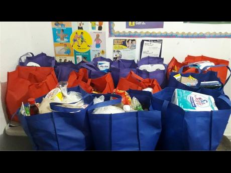 Some of the care packages that were delivered by Marymount High School's Holiday Helpers.