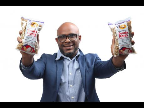 Onel Williams and his innovative new product – Nella's Tendaronis sweet potato pasta.