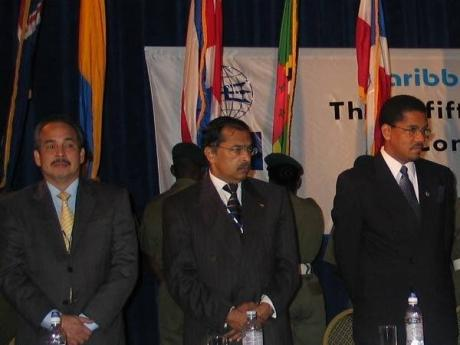 A Caribbean man: Harry Maragh (centre) served as a council member of the Caribbean Shipping Association (CSA). Here, he is pictured at the opening ceremony of a recent meeting of the CSA with Grantley Stephenson (right), deputy chairman of Kingston Wharves
