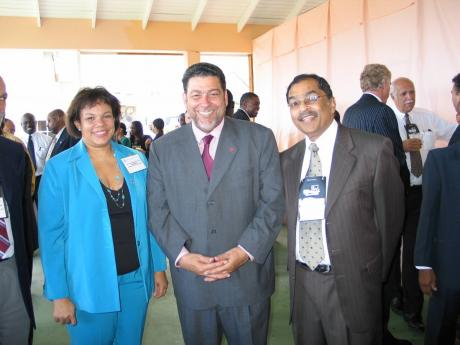 Respected and admired: Harry Maragh (right) earned the respect and admiration of Caribbean leaders. With him are  Dr Ralph Gonsalves, prime minister of St Vincent and the Grenadines, and Corah-Ann Robertson Sylvester, then president of the Caribbean Shippi