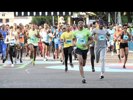 Patrons at the start of last year's Sagicor Sigma Corporate Run in New Kingston on Sunday, February 16, 2020.