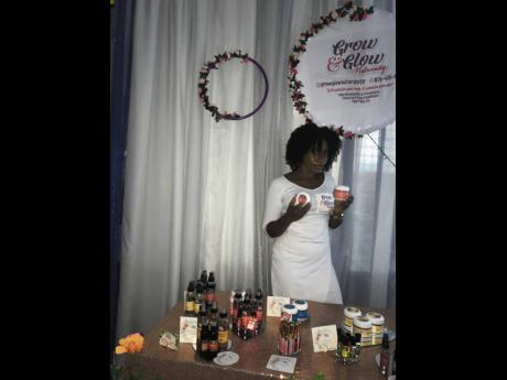 Audre Wisdom setting up at her recently held product launch.