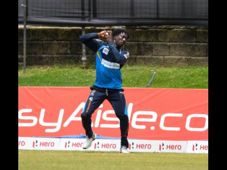 Hayden Walsh Jr takes the catch to dismiss Scott Kuggelejin of St Lucia Zouks while representing Barbados Tridents during the Hero Caribbean Premier League at Queen's Park Oval in Port of Spain, Trinidad And Tobago on Sunday, August 30, 2020.