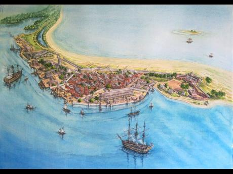 Representation of Port Royal circa 1840 by artist Peter Dunn. Today Port Royal is known as a sleepy fishing village located at the end of the Palisadoes at the mouth of Kingston Harbour, in southeastern Jamaica. Founded in 1494 by the Spanish, it was once