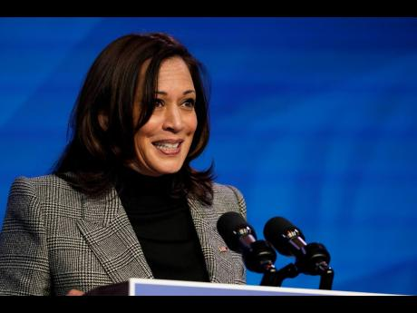 Vice-President-elect Kamala Harris speaks during an event at The Queen theatre on Saturday, January 16 in Wilmington, Delaware.