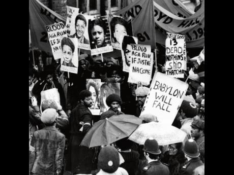 Protestors on the Black People's Day of Action march in 1981 after the New Cross fire.