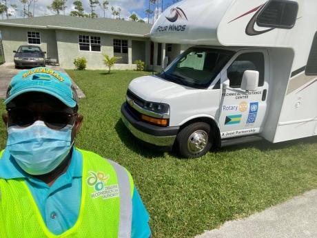 Hartley Eugene Thompson II, UNDP engineer/architect, on location in Abaco, Bahamas, with the mobile Technical Assistance Centre in 2020.