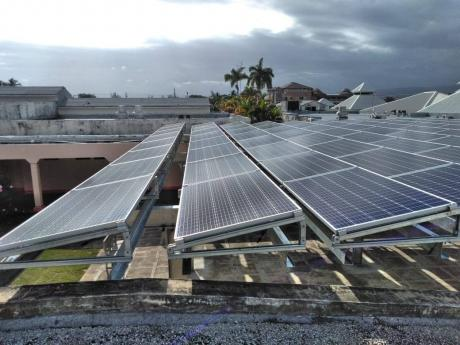 Freshly installed solar panels on the roof top of the May Pen Hospital in 2020 in preparation for commissioning.