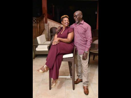 Andrea Lowe-Garwood and husband Jeffrey Garwood in happier times. The 50-year-old widow was gunned down during a church service in Falmouth, Trelawny, on Sunday. Mr Garwood died in traffic crash in 2020.