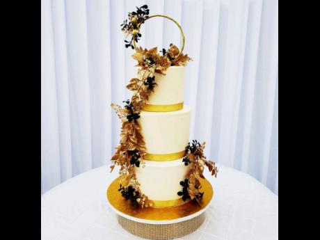A look at a customised wedding cake  created by Mumzel Gourmet Pastries.