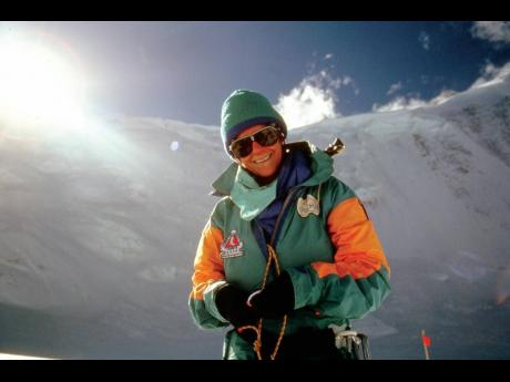 Sue Cobb preparing to climb the 2,000-foot face of the North Col Mt Everest, September 1988.