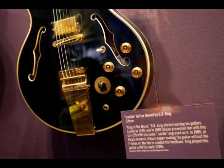 Lucille, a guitar owned by blues legend B.B. King, is displayed at the National Museum of African American Music.