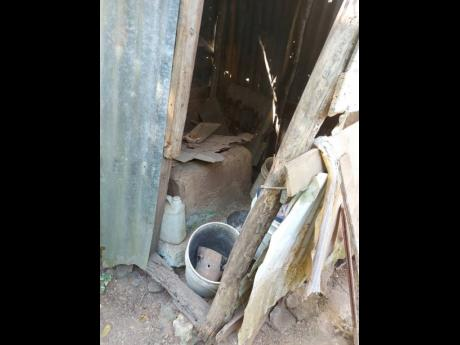 A makeshift toilet that has been out of use is what Saunders now stores some of her outdoor items in.