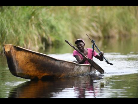 Sixty-three-year-old Chevann Robinson paddles his boat on the Black River in Vineyard district, St Elizabeth.