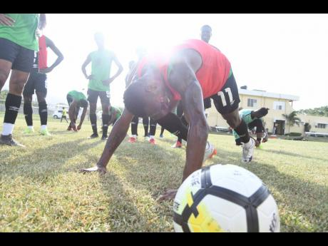 Jamaica's Reggae Boyz in training at the UWI/JFF/Captain Horace Burrell Centre of Excellence at the University of The West Indies Mona Campus on Tuesday, August 27, 2019.