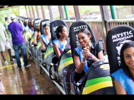 Visitors get ready for one of the rides at Mystic Mountain, Ocho Rios, St Ann.