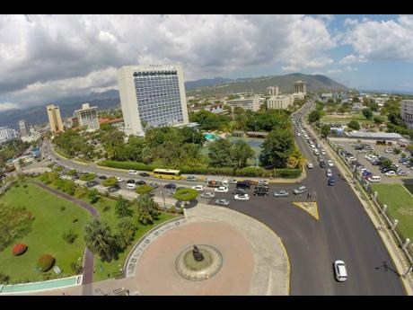 Overlooking Jamaica's New Kingston business district.