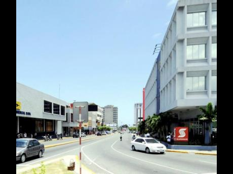 Entrance to Jamaica's New Kingston business district.