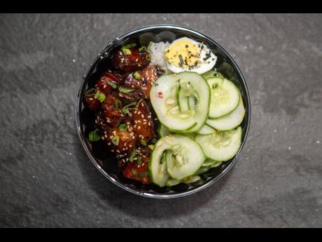 The sticky char siu pork belly rice bowl.