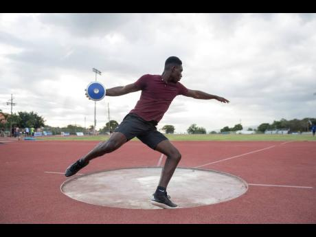 Jamaica College discus thrower Shamar Reid in training at Ashenheim Stadium on Thursday, February 20, 2020.