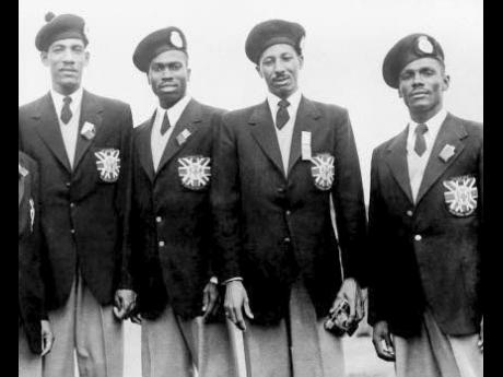 The Jamaican 4x400 metres gold medal team at the 1952 Olympic Games in Helsinki, Finland (left to right) Arthur Wint, George Rhoden, Herb McKenley and Les Laing.