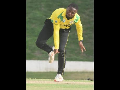 Jamaica Scorpions off-spinner Andre McCarthy in action against the Barbados Pride in their Cricket West Indies Regional Super50 match at the Coolidge Cricket Ground in Antigua on Sunday.