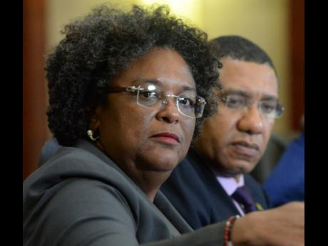 Barbados PM Mia Mottley and Jamaica PM Andrew Holness.