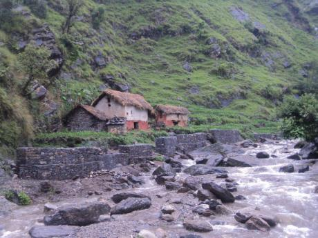 Gabion wall protecting households from flooding during peak monsoons in Kalika Village of Dailekh district in midwestern Nepal.