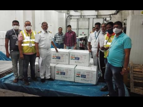 In this February 8 photograph, COVID19 vaccination doses of the Serum Institute of India bound for Barbados and Dominica are being loaded. The vaccines were sent under India's Vaccine Maitri (vaccine friendship) programme. Ani
