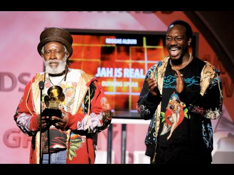 Burning Spear (left), and a member of the Burning Spear accept the award for best reggae album for 'Jah is Real' at the 51st Annual Grammy Awards on Sunday, February 8, 2009, in Los Angeles.