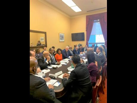 From left: facing the camera) Sir Ronald Sanders; prime minister of Antigua and Barbuda Gaston Browne, Congresswoman Maxine Waters and prime minister of St Lucia Allen Chastanet at US Congressional Round Table in November 2019.