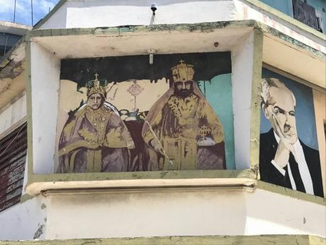 Royal Couple Enthroned, painted on a commercial building in East Street.