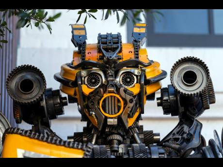 The face of a sculpture of Transformer Bumblebee is seen at the entrance of Georgetown University biochemistry professor Newton Howard's home.